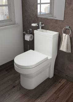 Combination Toilet and Sink This compact space saving toilet and basin comes with a tap. A great solution for under the stairs or compact bathrooms. The combination unit includes everything you require toilet pan, cistern, seat, cistern and tap. Diy Bathroom Decor, Bathroom Layout, Bathroom Interior Design, Bathroom Ideas, Sink Toilet Combo, Toilet Sink, Toilet And Sink Unit, Toilet Bowl, Space Saving Toilet