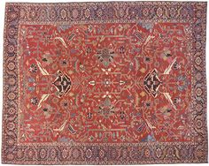 "Persian: Geometric 15' 0"" x 12' 0"" Antique Serapi at Persian Gallery New York - Antique Decorative Carpets & Period Tapestries"