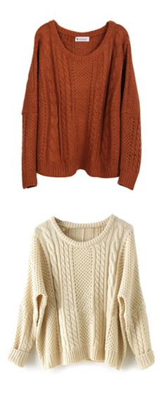 Loose Cable-Knit Sweater series :  Apricot/Khaki Batwing Long Sleeve Supersoft Pullovers Sweater .Really Really super soft !