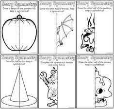 Free printable Teaching Resources for Busy Educators Symmetry Worksheets, Symmetry Activities, Seasons Worksheets, Art Worksheets, Haloween Craft, Halloween Math, Halloween Activities, Halloween Art Projects, Halloween Crafts For Kids