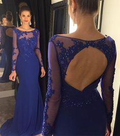 Mermaid prom dress, sexy prom dresses Open back prom dresses, long sleeve prom dress, Royal blue prom dress, Mermaid prom dress, sexy prom dresses, 15110
