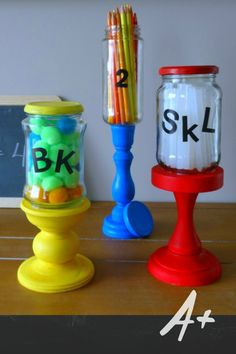 Back to School Decor is a thing? Upcycle some old jars to hold all those bits and pieces you're littles are going to need this year. Diy Back To School, School Decorations, Jars, Beautiful Homes, Upcycle, Recycling, Diy Projects, Crafty, Tableware