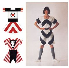 VARVARA FEDOROVNA STEPANOVA, Sketches for sports costumes, 1920s, and a modern reconstruction
