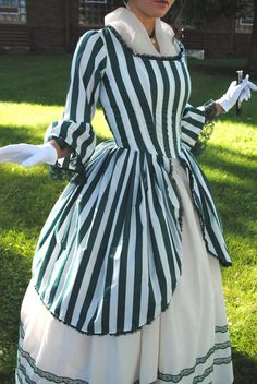 Green Rococo Colonial Tea Striped Gown Dress