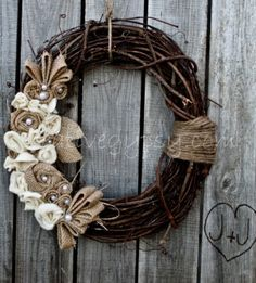 Wreath with burlap, really like this one.  Contents Natural and manufactured