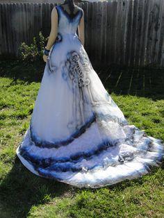 Medium Large Size 8 Blue White And Black Hand Painted Sugar Skull Skeleton Wedding Dress Dia