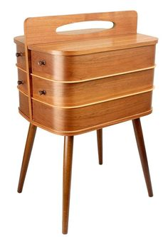 Danish Sewing Storage Box Sideboard Mid Century by ANTICLOPEDIA