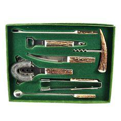 Rostfrei Stag Bar Tool Set. German Mid Century Vintage. Bar Fork & Knife / Double Bottle Opener / Corkscrew /Ice Tongs / Strainer. Barware available at TheHourShop.com  #vintagebarware #barware