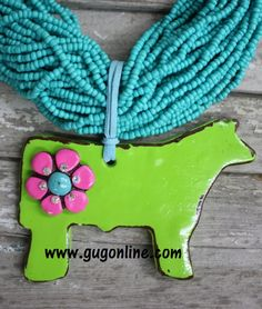 Goin' Showin' Lime Green Steer Pendant  www.gugonline.com