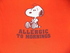 PEANUTS Snoopy Allergic To Mornings T Shirt Size Large Orange #Peanuts #ShortSleeve