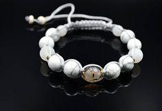 Men's Howlite Bracelet Beaded Bracelet Frost Agate
