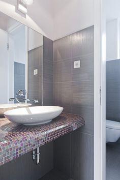 Bathroom Design Among Mosaic Glass Tile Vanity Countertop Idea