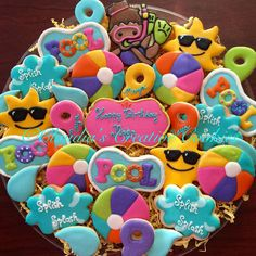 """155 Likes, 11 Comments - Claudia Eichelberger (@claudiascreativecookies) on Instagram: """"Pool party birthday cookies! #decoratedcookies #decoratedsugarcookies #sugarcookies #customcookies…"""""""