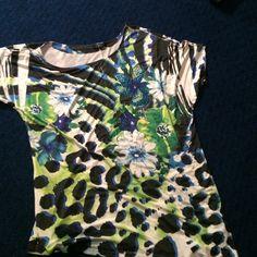 Cute Silky Deb shirt blue/green Cute silky and stretchy Deb shirt, will fit 1xl-3xl easily . Sooo comfy Deb Tops Blouses
