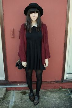 Burgundy Cardigan, Peter Pan Collar Dress, Black Bowler Hat