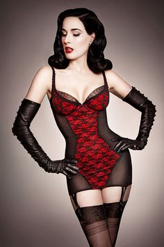 the reason I need long leather gloves. The red and black lingerie is a given.