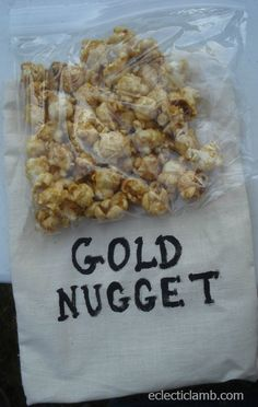 """Gold Nuggets"" for Cowboy Party Rodeo Party, Cowboy Party, Cowboy Birthday Party, Pirate Party, Cowboy Snacks, 70 Birthday, Country Birthday, Horse Party, Pirate Theme"