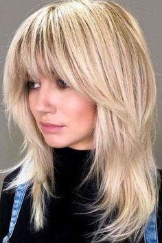 Mid Length Blonde Hair, Blonde Layered Hair, Blonde Hair With Bangs, Bangs With Medium Hair, Medium Hair Cuts, Brunette Hair, Medium Hair Styles, Long Hair Styles, Long Thin Hair Cuts