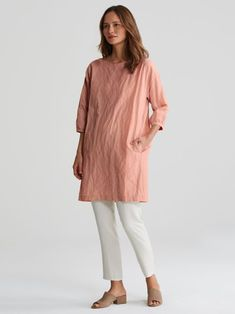 7c73ce41c9 Rumpled Organic Cotton Steel Layering Dress | EILEEN FISHER Structured Dress,  Tunic Tops, Texture