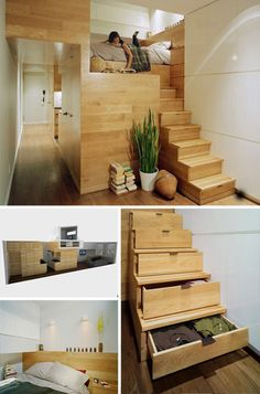 Loft bedroom and drawer staircases