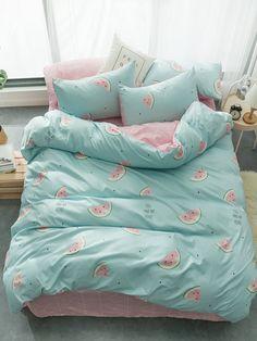 Watermelon & Letter Print Sheet Set SheIn(Sheinside) is part of Pastel bedroom - Cute Bedroom Decor, Room Ideas Bedroom, Girl Bedroom Designs, Girls Bedroom, Girl Rooms, Cute Bed Sheets, Pastel Bedroom, Kawaii Bedroom, Decorating Rooms