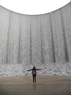 "Have someone take your photo on front of the Williams Tower ""Water Wall"", in the Galleria area."