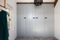 Rustic wood floors in mudroom with blue cabinets. Wardrobe Doors, Built In Wardrobe, Home Bedroom, Bedroom Furniture, Rustic Wood Floors, Porch Addition, Primitive Bedroom, Welcome To My House, Closet Space