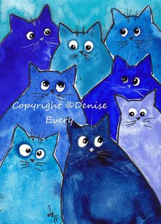 Abstract Whacky Kitties Cat ACEO Print Art Indigo Royal Periwinkle Turquoise Blue Shades Fun Whimsical Feline ATC