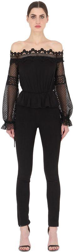 8bbe5457d2e5 Off Shoulder Lace   Georgette Jumpsuit Off Shoulder Fashion