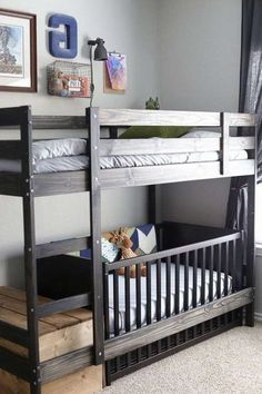 Swap a crib for the bottom bed on the IKEA Mydal bunk bed  Best IKEA Hacks  Pinterest  Bunk