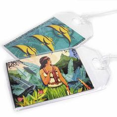 Luggage Tags - Island Paradise - set of two tropical luggage ID tags on Etsy, $8.00