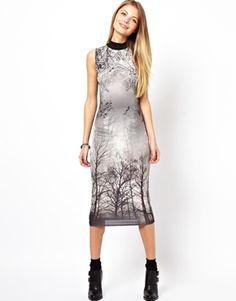 ASOS PETITE Polo Forest Print Midi Bodycon Dress