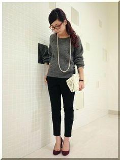 秋冬ファッション、グレー×ブラック