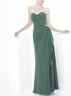 Dark Green Chiffon Bridesmaid Dress Romantic Sheath Sweetheart Bridesmaid Gown