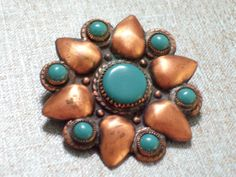 Vintage BELL Copper Turquoise Southwestern Pin by TheCopperCat, $9.00