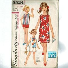 Retro-Shift-Dress-Pattern-Beach-Vacation-VTG-Simplicity-5524-Girl-Size-6