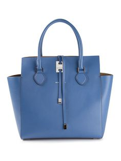 Chambray blue calf leather Miranda tote from Michael Kors featuring a top flap closure, a drawstring fastening, round top handles, a silver-tone logo plaque, an embossed logo and an internal zipped pocket.