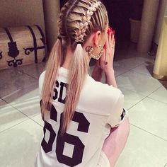Adorable french braid pigtails!
