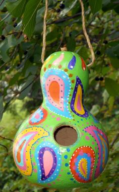 Birdhouse Gourd Whimsical Colorful Paisley Functional Indoor Outdoor Patio…
