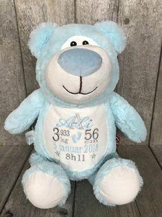 Bébé Bleu l'ours personnalisable - Boutique - Broderie Amé Design Teddy Bear, Boutique, Design, Baby Blue, Bear Cubs, Embroidery, Bebe, January