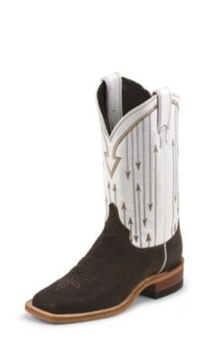 WOMEN'S DARK BROWN BENT RAIL® BOOTS WITH WHITE PATTERN TOP