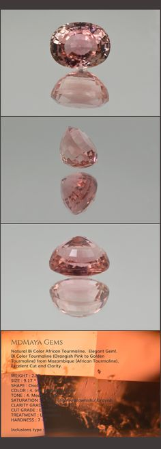 Natural Bi Color African Tourmaline.  Elegant Gem!. Bi Color Tourmaline (Orangish Pink to Golden Tourmaline) from Mozambique (African Tourmaline). Inclusions only visible under loupe. Excelent Cut and Clarity. Perfect to Jewlery!. Oval Cut. 2.82 ct.  Loose Gemstones for sale MdMaya Gems