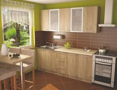 panel konyha - Google keresés Wooden Cabinets, Kitchen Cabinets, Small Kitchen Renovations, Modern Kitchen Design, Modern Kitchens, Dining Table In Kitchen, Modern Spaces, Wooden Tables, Building Design