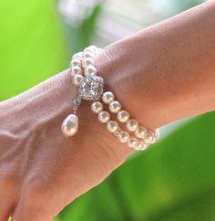 Pulsera de perlas marfil brazalete de perlas de por JamJewels1