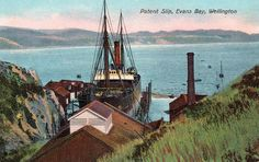 Patent Slip, Evans Bay, Wellington, New Zealand. Postcard from the G. Series ~ No. Printed in Berlin. Wellington New Zealand, British Isles, Golden Gate Bridge, Paris Skyline, Evans, Ship, History, Prints, Travel