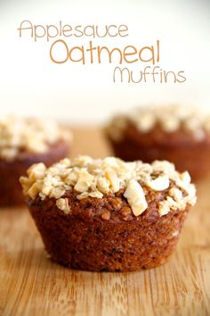 A good-for-you muffin that's loaded with applesauce and oatmeal, and sprinkled with a crunchy almond topping.