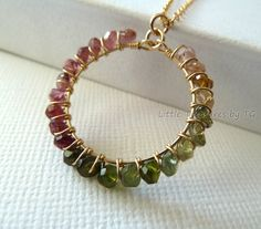 Watermelon Tourmaline circle pendant gold necklace Handmade gemstone. Spring fashion. Mother's day jewelry gift. Wire wrapped Bohemian. via Etsy.