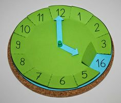 : Handcrafted clock with flaps, math, time, tinker - schule - Teaching Time, Teaching Math, Math Math, Learning Activities, Activities For Kids, Babysitting Activities, Indoor Activities, Math For Kids, School Hacks