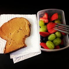 Walnut Raisin California Lifestyle Bread w/ Natural Peanut Butter + Fruit Salad of Strawberries, Blueberries, and Grapes! (approx. 300 cal.)