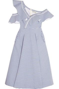 Self-Portrait's Spring '17 collection is all about easy, elegant silhouettes. Cut from cotton-poplin with shirt-inspired stripes, this dress has a ruffled neckline that sits elegantly off the shoulders to appear as though it's slipping down. The skirt flares out from the waist and is box-pleated to hold its voluminous A-line shape.
